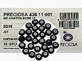 Jet black, Preciosa Genuine Czech Crystals, 8-faceted Rhinestone Flatbacks, size ss16 (4mm) ~ 1440pcs
