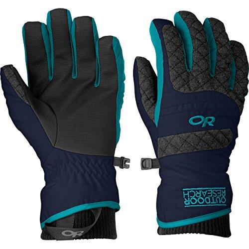 Outdoor Research Women's Riot Gloves, Night/Charcoal/Alpine Lake, Medium (Riot Ski)