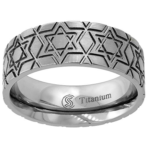 Titanium 8mm Wedding Band Star Of David Ring Deep Carving Flat Comfort Fit, size 9 (Ring Star Titanium)