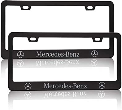 Black Aluminum Alloy Mercedes Benz License Plate Frame for,Mercedes Benz License Plate for All Models,fit Mercedes Benz Car Tag Plate,Decorate Front License Plate Cover