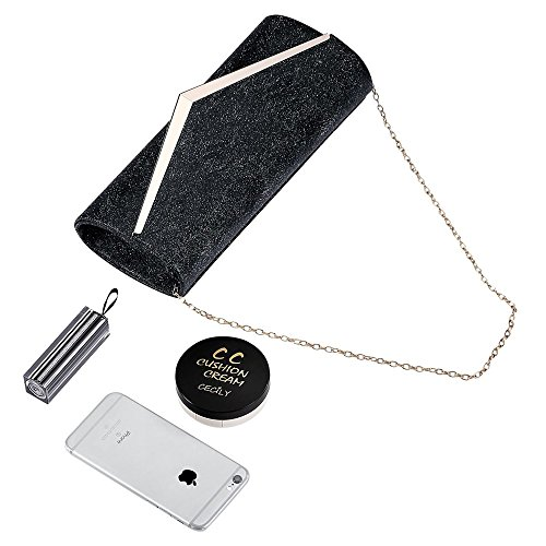 Women Envelope Evening Bag Clutches Bag Handbags Shouder Bags Wedding Purse with Detachable Chain (black) by Hibags (Image #5)