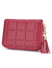 MuLier Genuine Leather Zipper Purse Tassels Anti RFID Credit Card Holder Small Wallet (Red)
