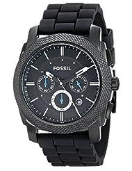 Fossil Men's FS4487 Black Silicone Bracelet Black Analog Dial Chronograph Watch