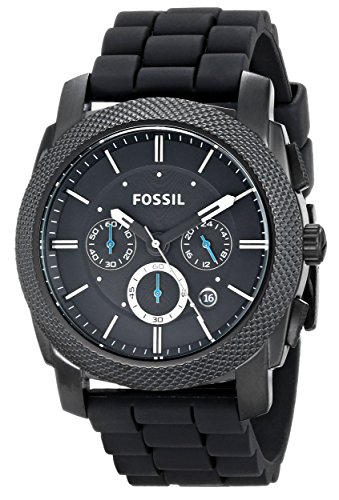 fossil-mens-fs4487-machine-chronograph-black-stainless-steel-watch-with-silicone-band