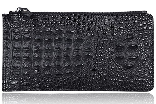 with Wallet 218 Genuine Embossed Purse Gift Black Zipper crocodile Pijushi 2311 Box Leather wqRAxfCp