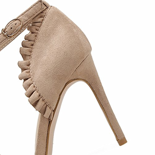 Apricot Sandals High Ankle Stiletto women Heel Lace Strappy Rabbit Color style Strap sandal Lovely Toe Peep Lady Sandals Fv1aw0Zxq