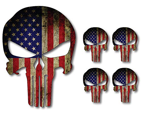 5 Pack Punisher Skull American Flag Vinyl Decal Stickers Car Truck Sniper Marines Army Navy Military Jeep Graphic 5