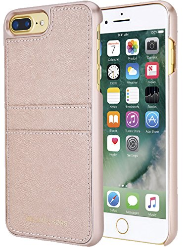 (Michael Kors Saffiano Leather Case With Pockets for iPhone 7 Plus and 8 Plus 5.5 inch - Pink)