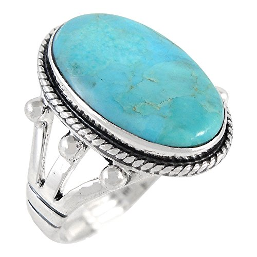 (Turquoise Ring in Sterling Silver 925 & Genuine Turquoise Size 5 to 12)