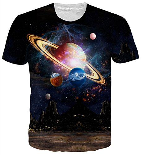 Belovecol Summer Short Sleeve T Shirts for Mens 3D Print Planet Space Galaxy Tees Top Blouse L ()