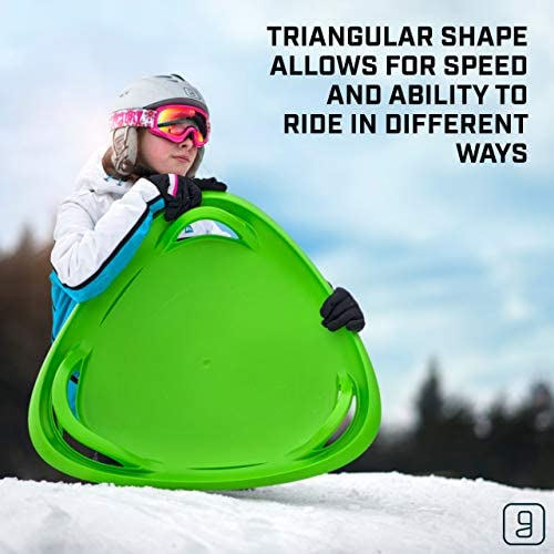 Gizmo Riders Meteor Saucer Sled for Kids- Multi-Purpose Sit or Kneel Disc Sled Saucer with Raised Safety Handles for Maximum Steering Control, Sledding Disc for Kids Ages 3 and Up
