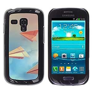 TECHCASE**Cubierta de la caja de protección la piel dura para el ** Samsung Galaxy S3 MINI NOT REGULAR! I8190 I8190N ** Paper Planes Sky Clouds Blue Paper Art