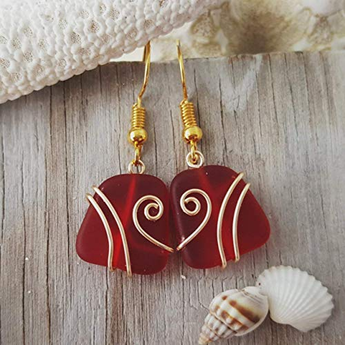 - Handmade jewelry from Hawaii, Gold wire wrapped Ruby red sea glass earrings,