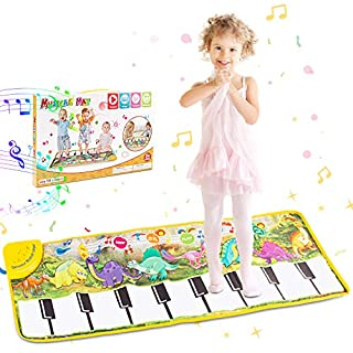 RenFox Music Piano Mat, Keyboard Playmat Kids Musical Mats with Dinosaur Pattern and Sound Portable&Safe Musical Dance Mat Early Education Toys Gift for Boys & Girls Age 1 2 3+ Years Old 43.3x14.2''
