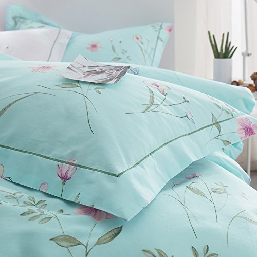 OTOB Floral Bedding Duvet Cover Queen Set for Teen Kids Girl Flower Print Bedding Sets Full Size Cotton 100 Blue, Reversible Lightweight Soft by OTOB (Image #9)