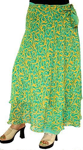 Indian Skirt Womens Long Magic Beach Wrap Around India Clothing (Green)