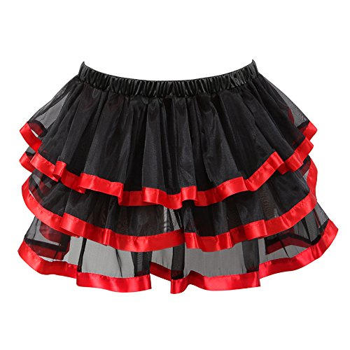 Women's Short Sexy Ballet Bubble Puffy Tutu Petticoat Skirt Red S-M