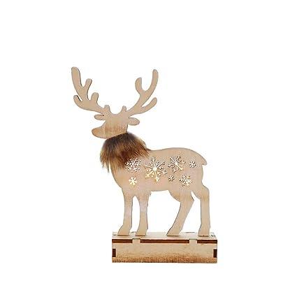 Sencillo Vida Reno Escritorio Decoración de Navidad Madera con Luz LED para Hogar/Oficina /