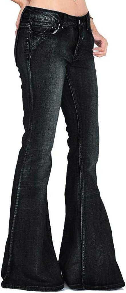 Dainzuy Women Bell-Bottom Wide Flared Jeans Mid Rise Slimming Wide Leg Stretch Denim Flare Bootcut Jeans
