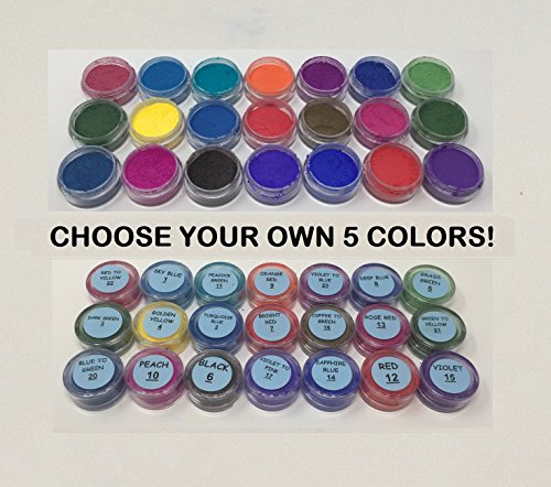 The Magic Chameleon Crafts Company. Thermochromic Temperature Activated Pigment - Multiple Colors - Changes Color at 88⁰F (31 ⁰C) (2g x 5 = 10g, Custom Sample Packages) by The Magic Chameleon Crafts Company