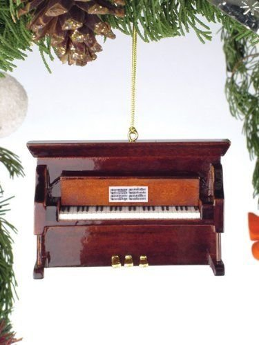 Brown Upright Piano with Sheet Music Holiday Christmas Tree Ornament