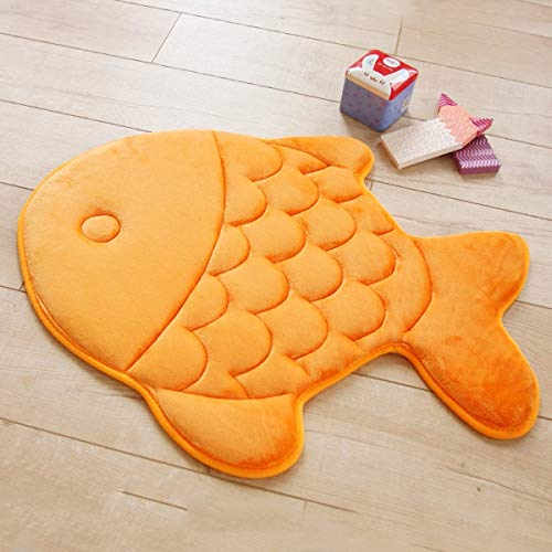 HAPLOVE Slow Rebound Memory Foam Children Bath Rug Fish Slip Resistant Coral Fleece Mat Doormat Carpet Children Home Christmas Birthday Gift 15 x 47 inch-(Orange) (Rugs Mats Bath & Fish)