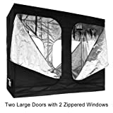 Reflective Interior Mylar Indoor Hydroponic Grow Tent Cover Two Large Door Design 96x48x78 Inches w/ Heavy Duty 600D Oxford Cloth & Metal Frame for Gardening Plant Growing