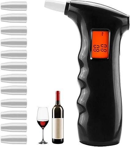 QUTAII Alkoholtester Polizeigenau Alkoholmessger/äte Professioneller Alkohol Tester Promilletester mit Halbleiter Sensorik Digital LCD Bildschirm und 22 Mundst/ücken