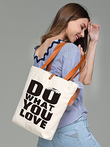 So'each Women's Do What You Love Graphic Top Handle Canvas Tote Shoulder Bag