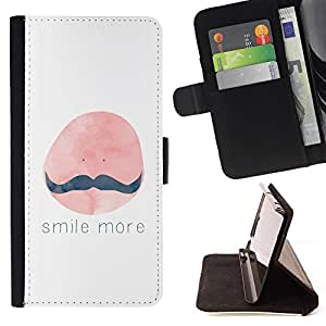 Momo Phone Case / Flip Funda de Cuero Case Cover - Sonrisa Más bigote Pintura Cita - Huawei Ascend P8 Lite (Not for Normal P8)