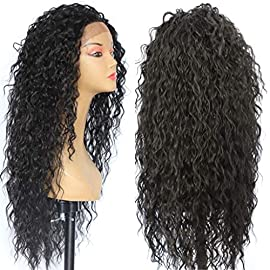 Sapphirewigs Kinky Curly Black Color Women Daily Makeup Kanekalon Heat Resistant Synthetic Lace Front Party Wigs