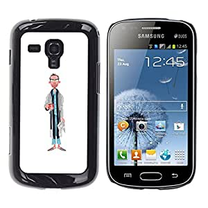 Paccase / SLIM PC / Aliminium Casa Carcasa Funda Case Cover - Dad Portrait Caricature Man Glasses Art - Samsung Galaxy S Duos S7562