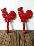 Bright Red Rooster Hooks Set of 2 – Country Kitchen Home Decor – Wall mounted cast iron Rustic – screws included
