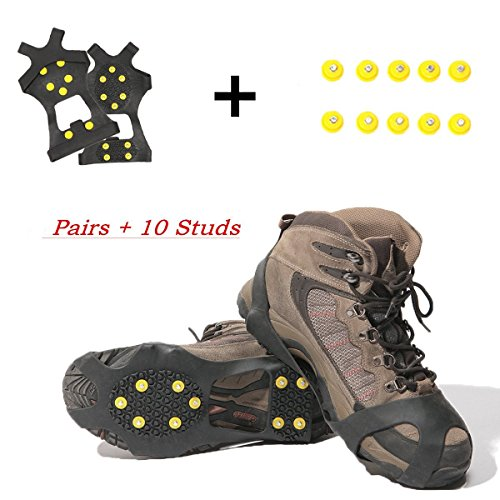 Carryon Ice Grips Traction Cleats Ice Cleats Snow Grips Snow Cleats for Men and Women+ 10 Extra Replacement Studs (X-Large) (Studs Traction)