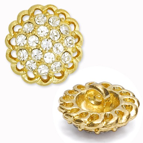 16mm Rhinestone Button with Shank, Crystal/Gold by 2pcs, T-1072 -