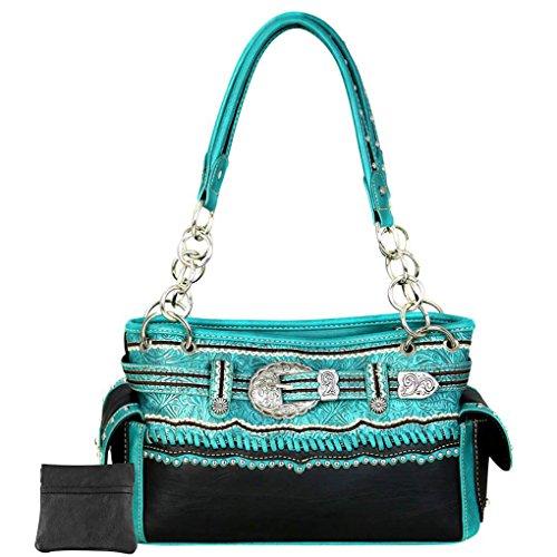 Montana Hombro Para Mujer De Turquoise Sintética Piel Buckle Bolso Silver West Al L r60trq