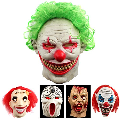 Halloween Mask For Men (Halloween Clown Mask Scary Vampire Latex Costumes Cosplay Party Decorations Props With Green Hair)