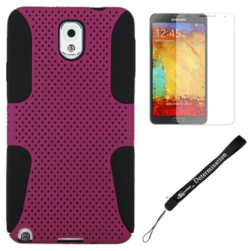 Dual Hybrid Shock Proof Absorbent Case for Samsung Galaxy Note 3 III Smartphone + eBigValue Hand Strap (Magenta)