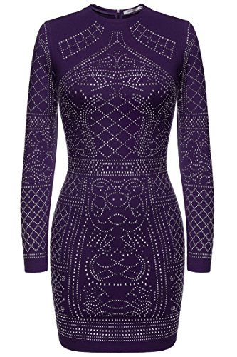 Sequin Purple - Meaneor Women's Vintage Style Long Sleeve Sequin Sexy Form Fitting Club Dress, Purple/L