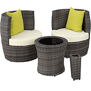 TecTake Patio Poly Rattan Oval Egg Cup Bistro Set with Lamp