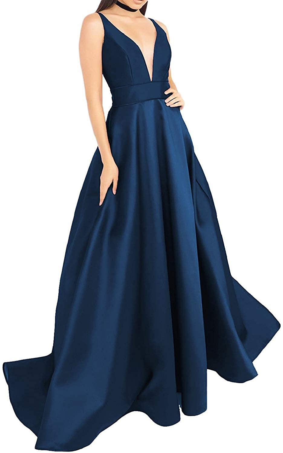 Navy bluee EverBeauty Womens VNeck Satin Prom Dresses 2019 Long Sleeveless Aline Evening Formal Ball Gown with Pockets