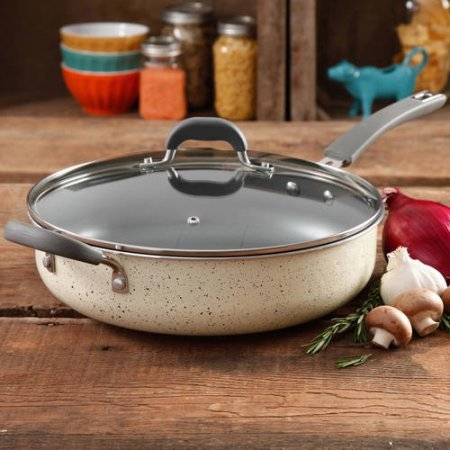 The Pioneer Woman Vintage Speckle Non-Stick Jumbo Cooker (1, Linen) by The Pioneer Woman