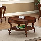 Coaster Transitional Warm Brown Coffee Table with Curved Legs