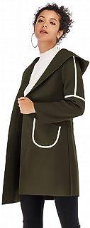 Good dress Las Mujeres de Invierno de Doble Bolsillo con Capucha Larga Abrigo Mujeres Cálida Chaqueta de Lana Gruesa Mujeres, Verde, l