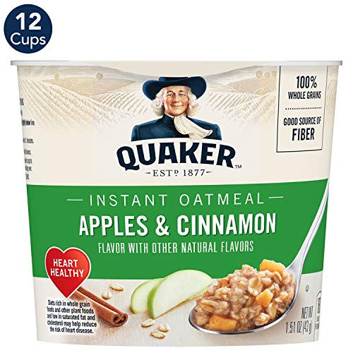 Quaker Instant Oatmeal Express Cups, Apples & Cinnamon, Breakfast Cereal, 12 Cups