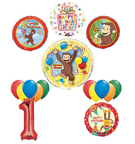 The Ultimate 16pc Curious George 1st birthday party Supplies and Balloon (Curious George 1st Birthday)