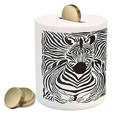 Ambesonne Zebra Print Piggy Bank, Illustration Pattern Zebras Skins Background Blended Over Zebra Body Heads, Ceramic Coin Bank Money Box for Cash Saving, 3.6