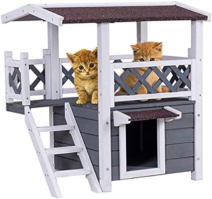 COSTWAY Casa para Gatos de Madera Caseta para Gatos con Terraza y ...