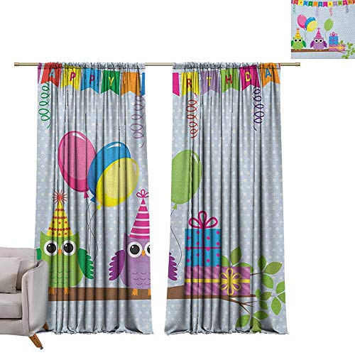 Curtains and Drapes Kids Birthday,Cartoon Style Owls at a Party with Flags Boxes on a Polka Dotted Backdrop, Baby Blue W72 x L108 Window Drape for Bedroom]()