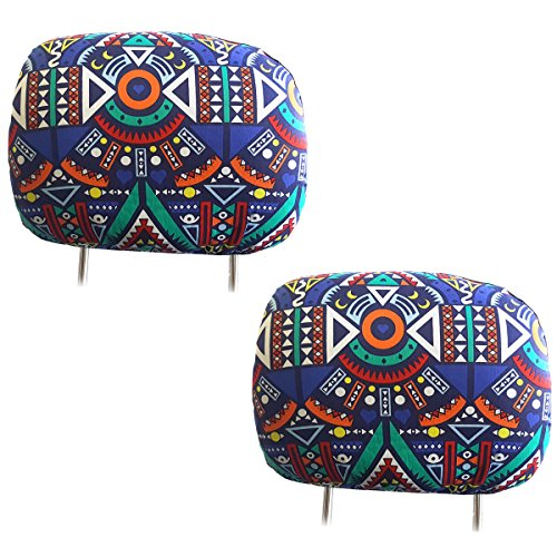 - Yupbizauto New Interchangeable Car Seat Headrest Covers Universal Fit for Cars Vans Trucks-Sold by a Pairs (Aztec)